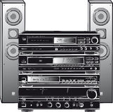 Stereo system. Black and white illustration of a stereo sound system Stock Images
