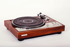 Stereo Turntable Vinyl Record Player Analog Retro Vintage. Angle View Royalty Free Stock Images