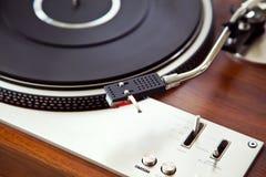 Stereo Turntable Vinyl Record Player Analog Retro Vintage. Closeup Royalty Free Stock Photos