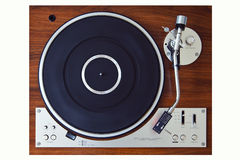 Stereo Turntable Vinyl Record Player Analog Retro Vintage. Top View stock photo