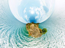 The stereographic projection panorama rock above the water Baika Royalty Free Stock Image