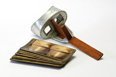 Stereoscope. Old stereoscope and  stereo gram isolated Royalty Free Stock Image