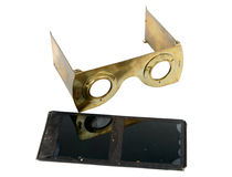 Stereoscope in brass with glass plates Stock Photos