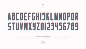 Stereoscopic alphabet letters and numbers. vector, 3d effect font type. Futuristic, accented typeface design. contemporary, distortion illusion typesetting Royalty Free Stock Photos