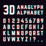 Stereoscopic distortion, 3d anaglyph font alphabet letters vector illustration