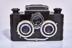 A stereoscopic film camera analog camera. That was made in the middle of the twentieth century Royalty Free Stock Photos