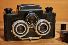A stereoscopic film camera analog camera. That was made in the middle of the twentieth century Royalty Free Stock Photo