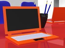 Stereoscopic laptops on red table with pencils Stock Photography