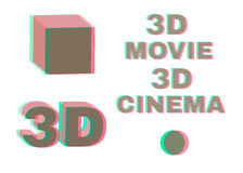 Stereoscopic objects and words: 3d movie, cinema. No transparency stereo effect. Isolated on white. Vector illustration. Stock Photo