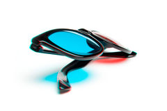 Stereoscopic photo of 3-D glasses Stock Photos
