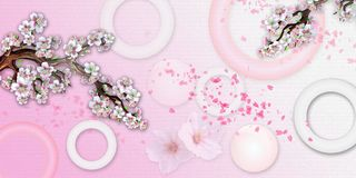 Free Stereoscopic Photo With The Image Of Sakura. Photo Wallpaper For The Walls. 3D Rendering. Stock Images - 111280614