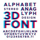 Stereoscopic stereo 3d vector letters and numbers. Colorful glitch alphabet. Typography abc with effect stereoscopic illustration Royalty Free Illustration