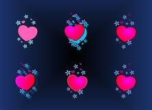 Stereoscopische achtergrond, harten en bloemen, illusie, hulp, blauw, samenvatting, illustratie, vector, vector illustratie