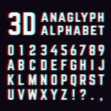 Stereoskopisk distorsion, för stilsortsalfabet för anaglyph 3d bokstäver vektor illustrationer