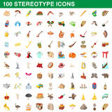 100 stereotype icons set, cartoon style. 100 stereotype icons set in cartoon style for any design vector illustration royalty free illustration