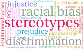 Stereotypes Word Cloud. On a white background vector illustration