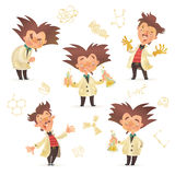 Stereotypic bushy haired mad professor wearing lab coat. In various poses, cartoon illustration isolated on white background. Crazy laughing comic scientist Royalty Free Stock Image
