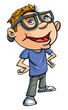 Stereotypical cartoon nerd. With geeky glasses and a brash know it all attitude, an obsessive brainy social misfit Stock Photo