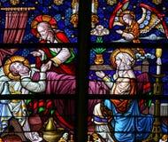 Sterfbed van Saint Joseph - Gebrandschilderd glas Stock Foto's