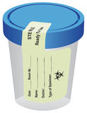 Sterile container with a label. The sterile container with a label for a urine test Royalty Free Stock Image