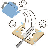 Sterilization. Kitchen articles, it`s sterilized by boiling water stock illustration