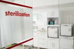 Sterilization room in the clinic Royalty Free Stock Photos