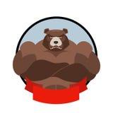 Sterk draag Embleem voor sportclubteam Grizzly met grote mu Royalty-vrije Stock Afbeeldingen