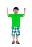 Sterk en zeker kind Het gelukkige Aziatische kind glimlachen en rozijn royalty-vrije stock afbeeldingen