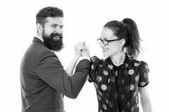 Sterk team De man van paarcollega's met baard en mooie vrouw op witte achtergrond Partnersleiding en stock afbeelding