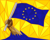 Sterk Wapen die de Vlag van de Europese Unie opheffen Stock Foto