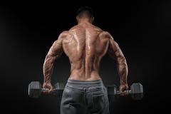 Sterke bodybuilder die oefeningen met omgeslagen domoren doen Stock Fotografie