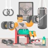 Sterke bodybuildersportman Weightlifter die bicep training opleidingswapens met domoor Vectorillustratie doen Stock Fotografie