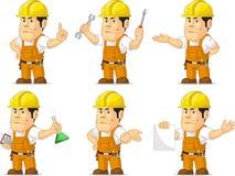 Sterke Bouwvakker Mascot 2 Stock Afbeeldingen