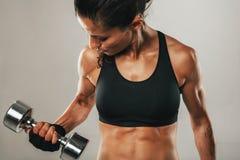 Sterke gezonde jonge vrouwen die gewichten opheffen Stock Fotografie