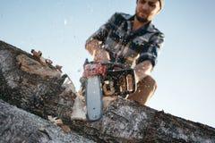 Sterke houthakker die plaidoverhemd en de kettingzaag van het hoedengebruik in zaagmolen dragen stock afbeelding