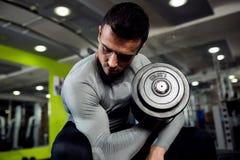 Sterke krachtige mannelijke oefeningsbicepsen stock afbeeldingen