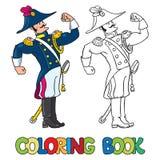 Sterke moedige algemeen of ambtenaar Kleurend boek vector illustratie