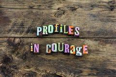Sterke profiel de moed beschermt eerlijke typografie stock foto