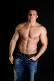 Sterke spier atletische mens stock foto