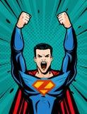 Sterke Superhero Beeldverhaal in pop-art retro grappige stijl, vectorillustratie vector illustratie