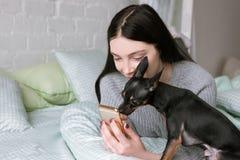 Sterke vriendschap tussen eigenaar en hond stock foto
