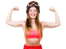 Sterke vrouw met sportieve helm Stock Afbeeldingen