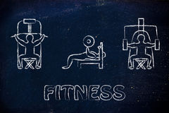 Sterkte opleiding en gewichtheffen illustratie, mens die gymnastiek gebruiken Royalty-vrije Stock Afbeeldingen