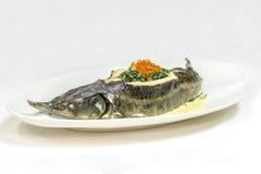 Sterlet com caviar vermelho fotos de stock