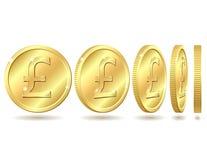 sterling знака фунта монетки золотистый Стоковое Фото
