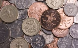 Sterling Background. Selection of various UK Sterling coins, ideal for a business or finance background. Please see all my other money / finance images as well Royalty Free Stock Images