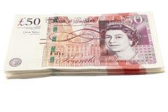 Sterling-Banknotebündel des britischen Pfund Stockfoto