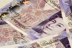 Sterling cash notes. British Twenty pound notes in close-up Royalty Free Stock Photos