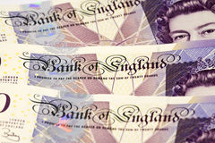 Sterling cash notes. British Twenty Pound notes in close-up Stock Photo