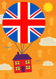 Sterling House Price Up. A metaphor for an increase in UK house and currency value Stock Image